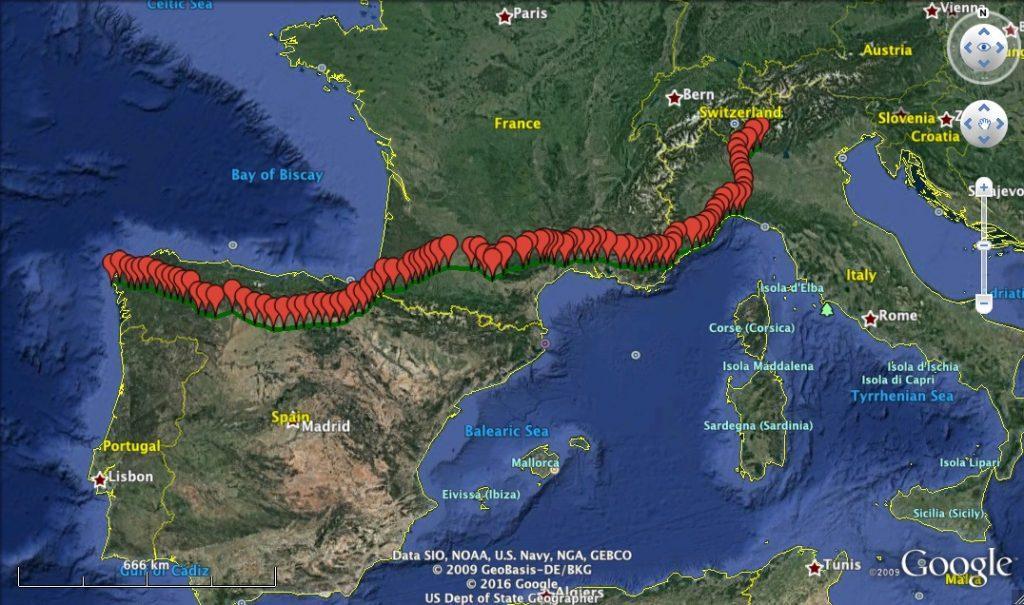 Itinerario completo da Bergamo a Santiago